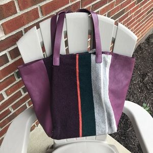 Boden purple leather and wool tote, GUC